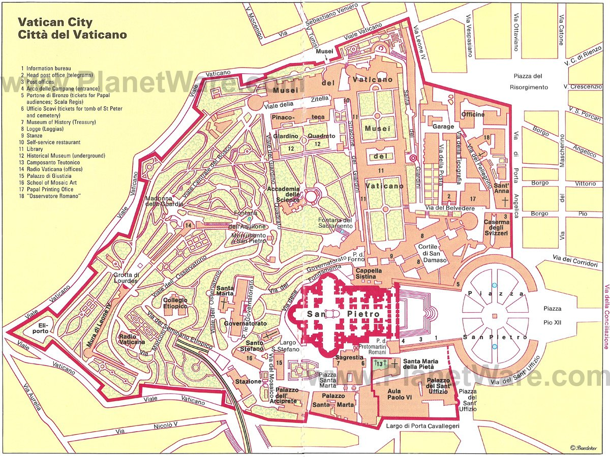 Vatican City Map - Tourist Attractions