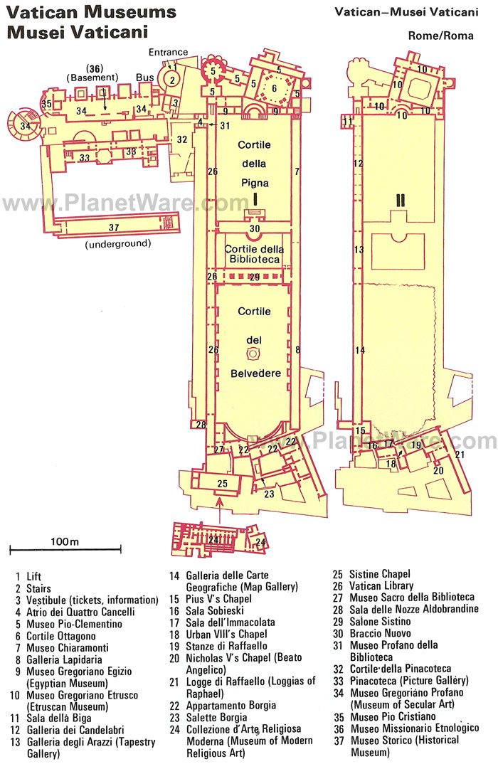 The map of Vatican Museum (Musei Vaticani) and Sistine Chapel in Vatican City, Rome, Italy