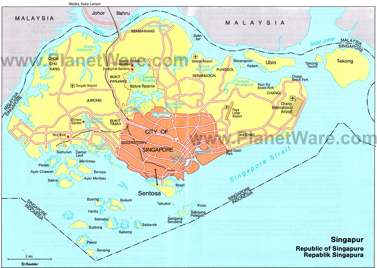 republic of singapore map. map of republic of singapore  planetware