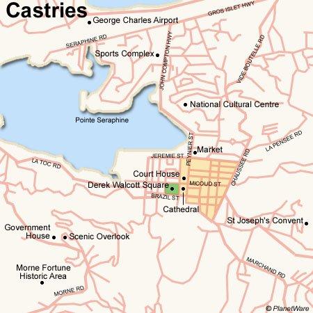 Port Castries Saint Lucia Cruise Port of Call Castries Map