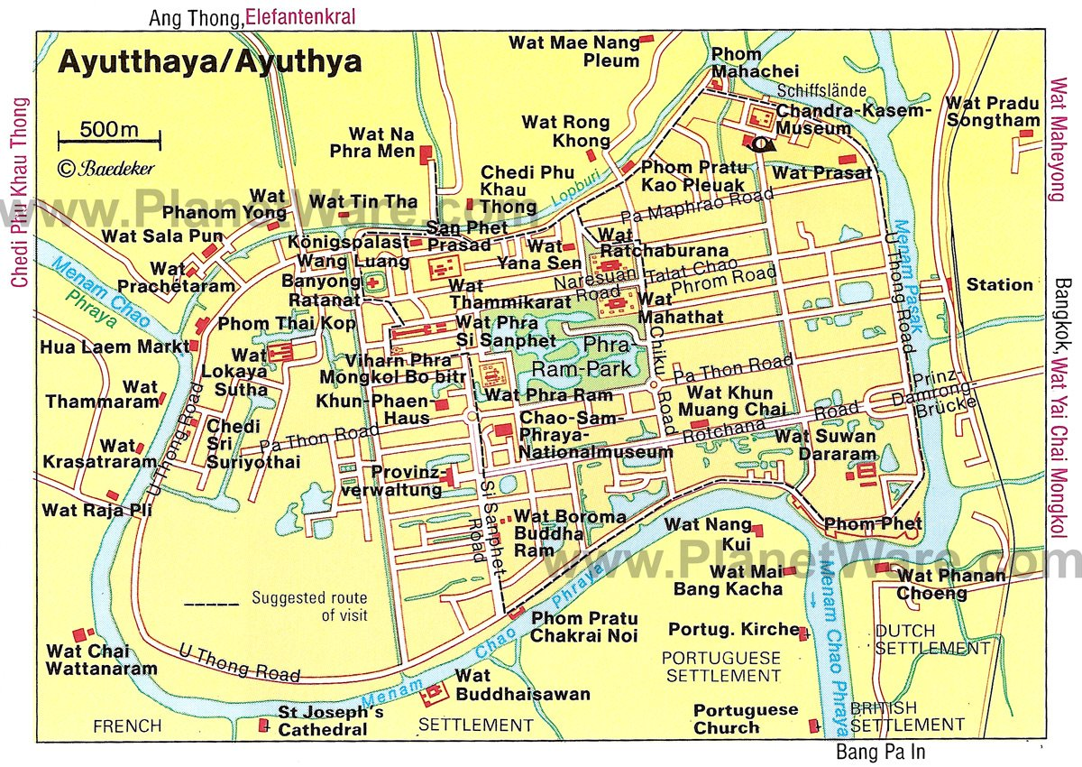 Ayutthaya Map - Tourist Attractions
