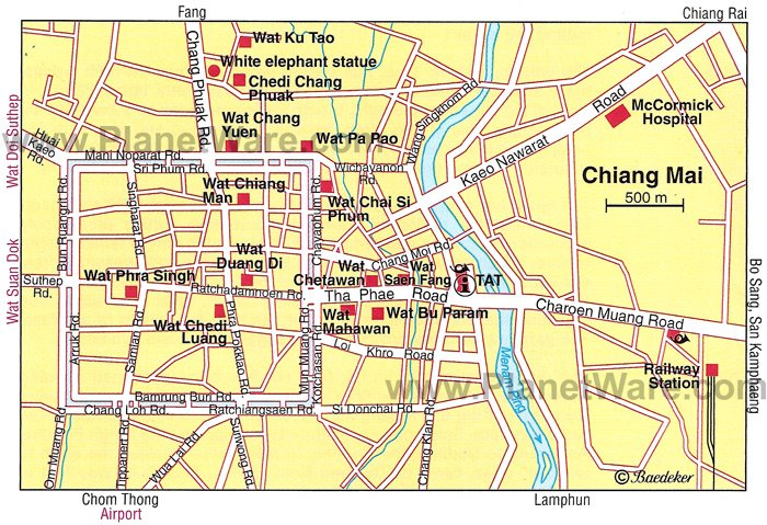Chiang Mai Map - Tourist Attractions
