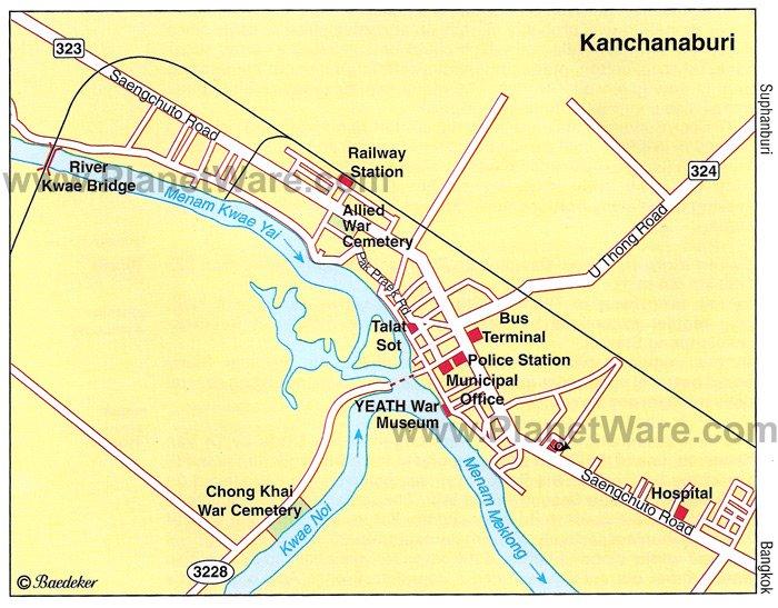 Канчанабури Карта - Туристические достопримечательности