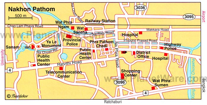 Nakhon Pathom Map - Tourist Attractions