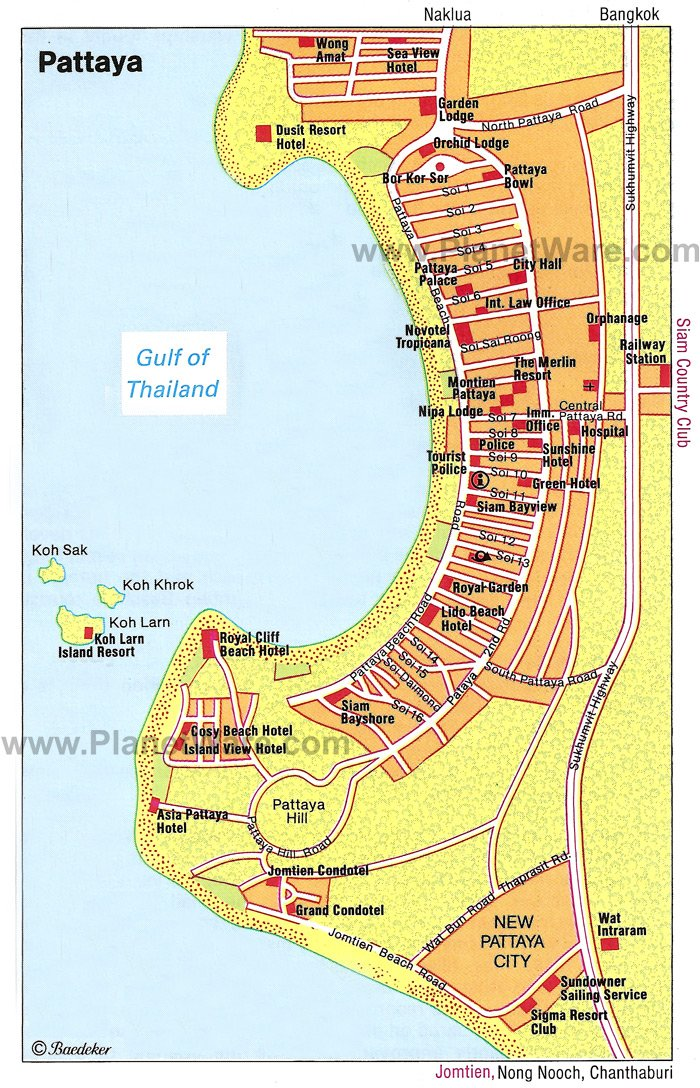 Pattaya, Chonburi Map - Tourist Attractions