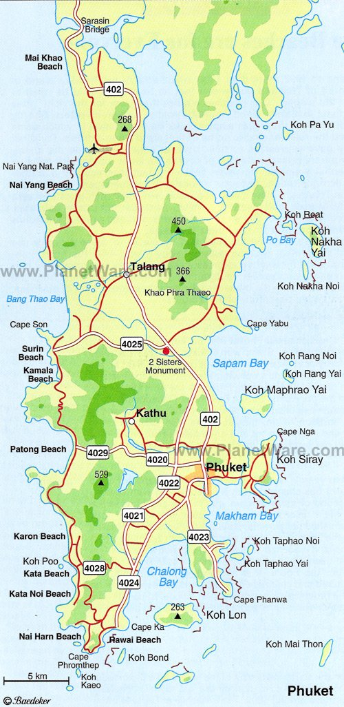 Phuket Map - Tourist Attractions