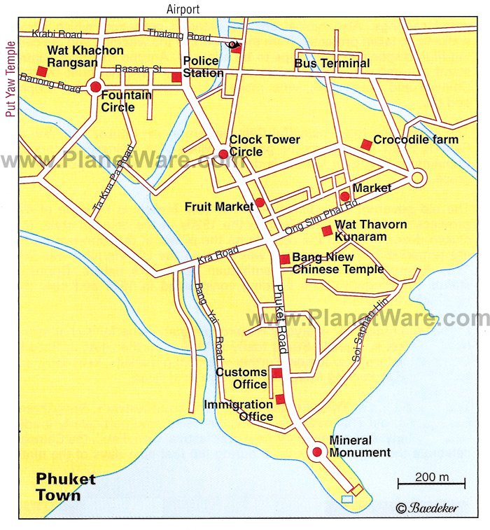 Phuket Town Map - Tourist Attractions