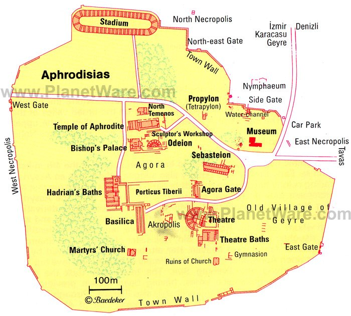 Aphrodisias Map - Tourist Attractions