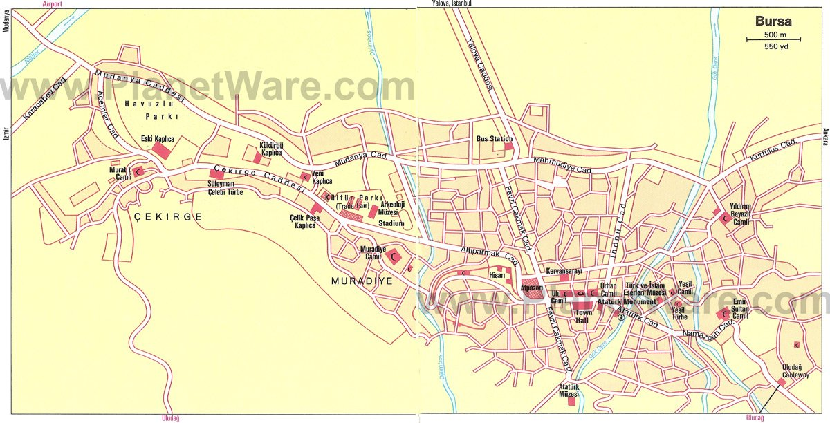 Bursa Map - Tourist Attractions