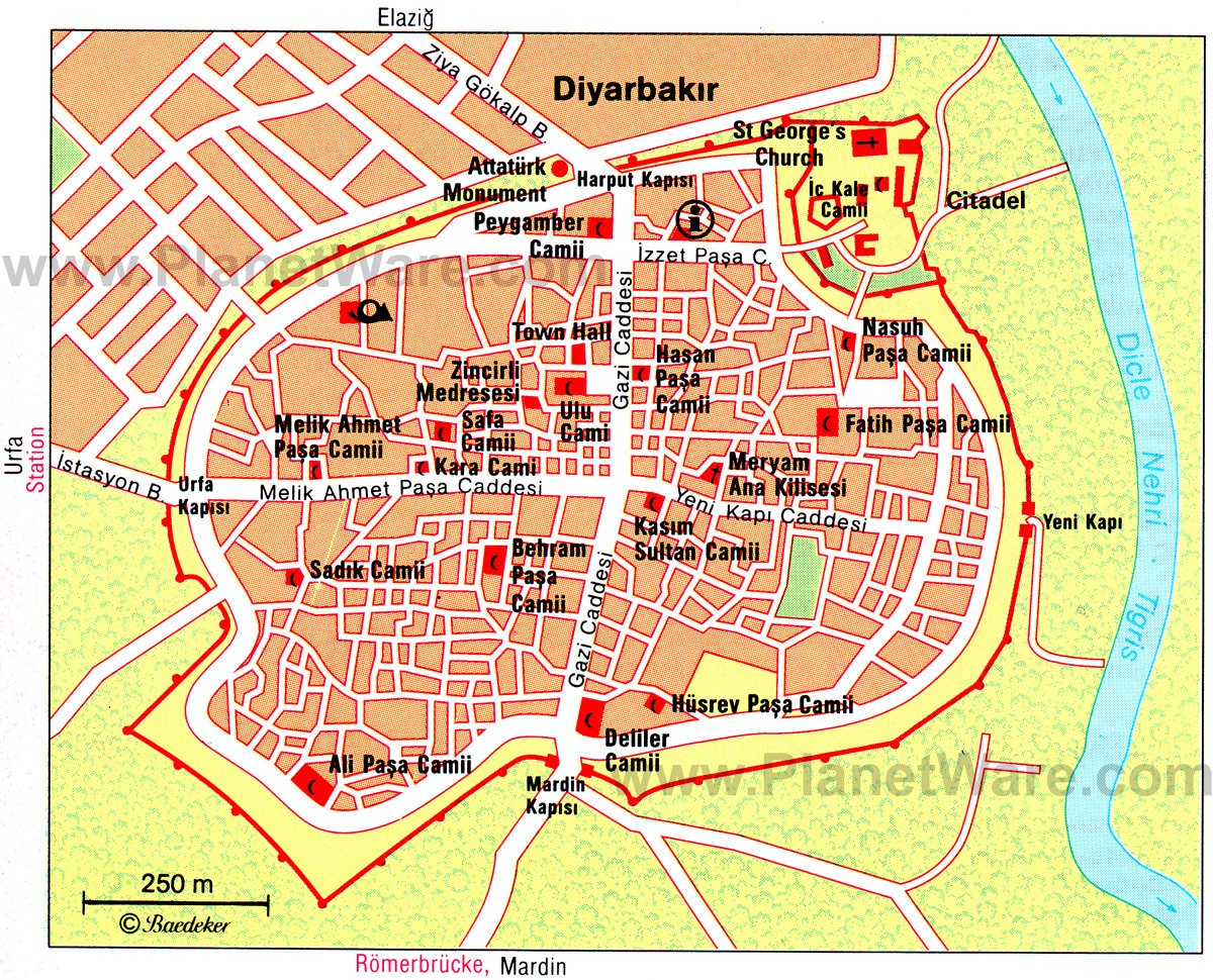 Diyarbakir Map - Tourist Attractions