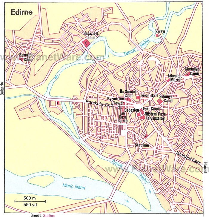 Edirne Map - Tourist Attractions