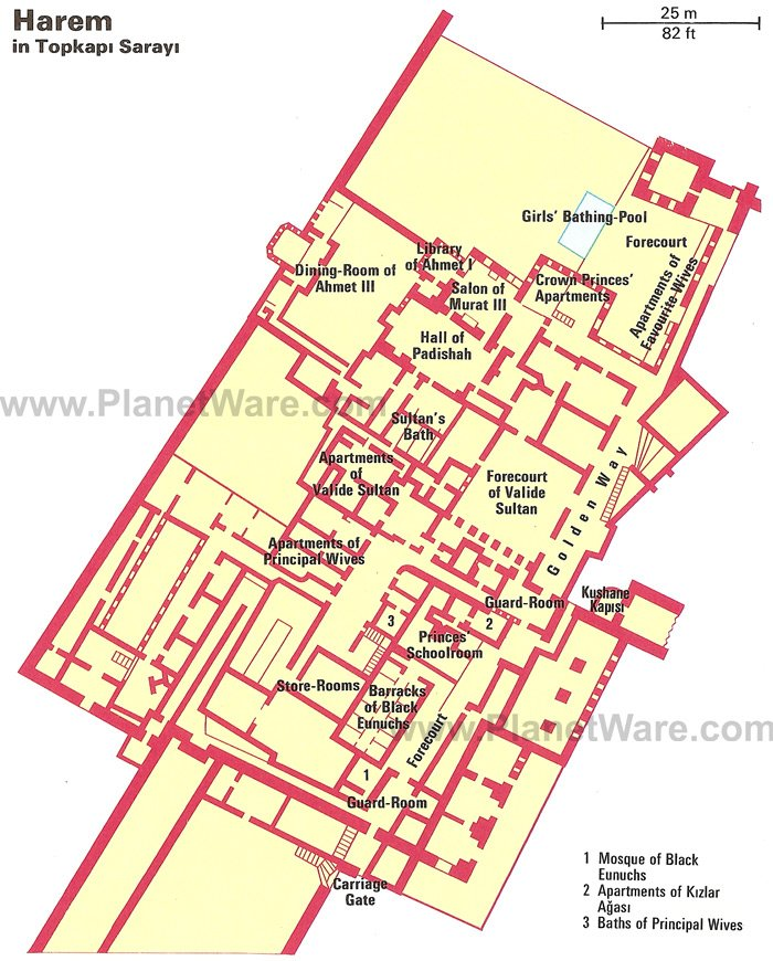 Istanbul - Harem in Topkapi Sarayi - Floor plan map