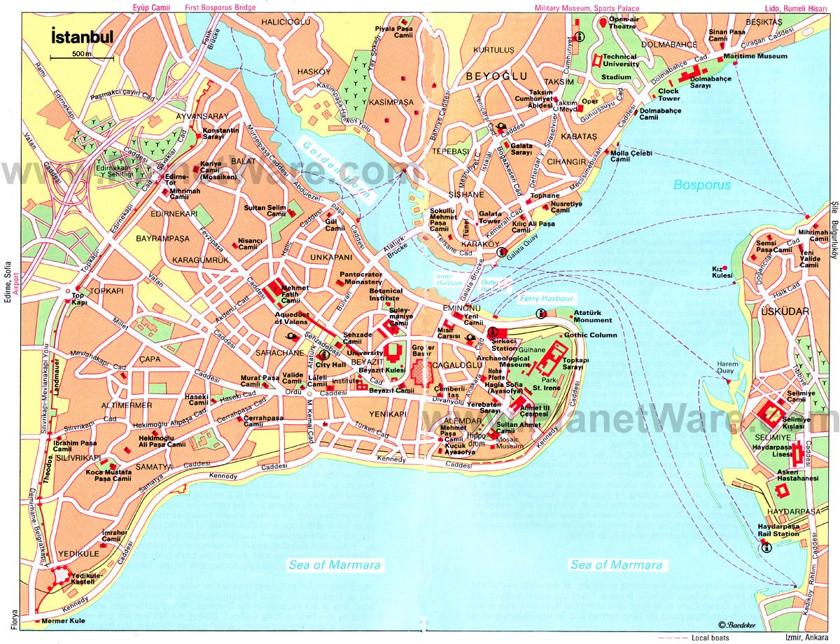 Istanbul Map - Tourist Attractions