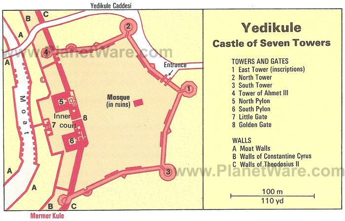 Istanbul - Yedikule Castle of Seven Towers - Floor plan map