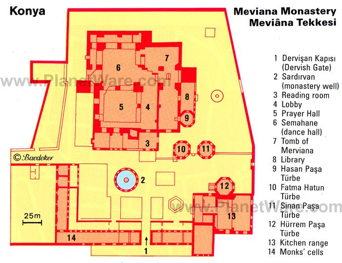 Konya - Meviana Monastery - Floor plan map