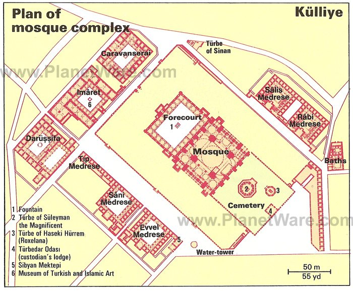 Kulliye - Mosque of Suleyman the Magnificent - Floor plan map