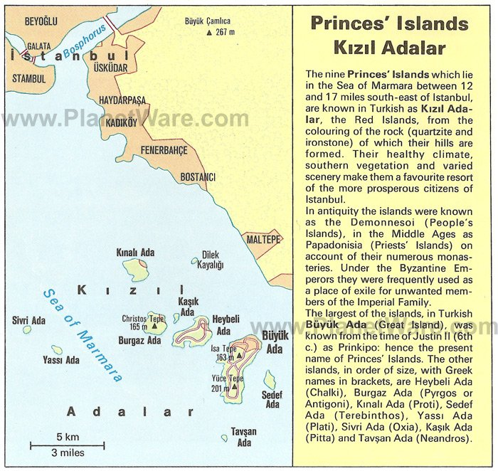 Princes Islands Kizil Adalar Map - Tourist Attractions