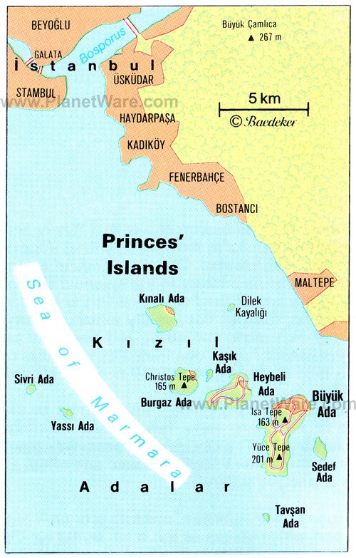 Princes' Islands Map - Tourist Attractions