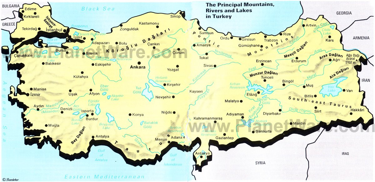 Map of The Principal Mountains Rivers and Lakes in Turkey PlanetWare