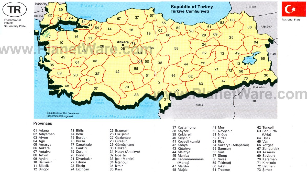 Map of Turkey PlanetWare