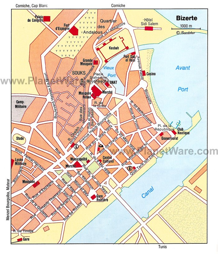 Bizerte Map - Tourist Attractions