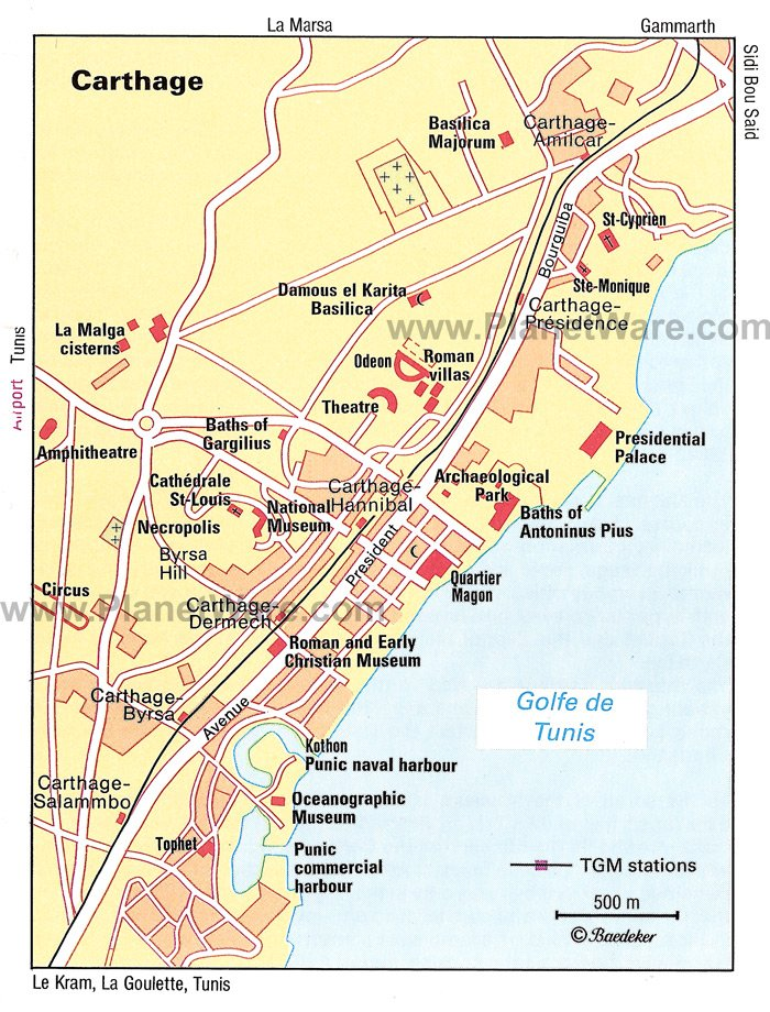 Carthage Map - Tourist Attractions