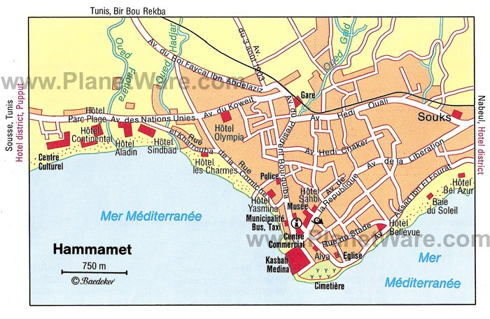 Hammamet Map - Tourist Attractions