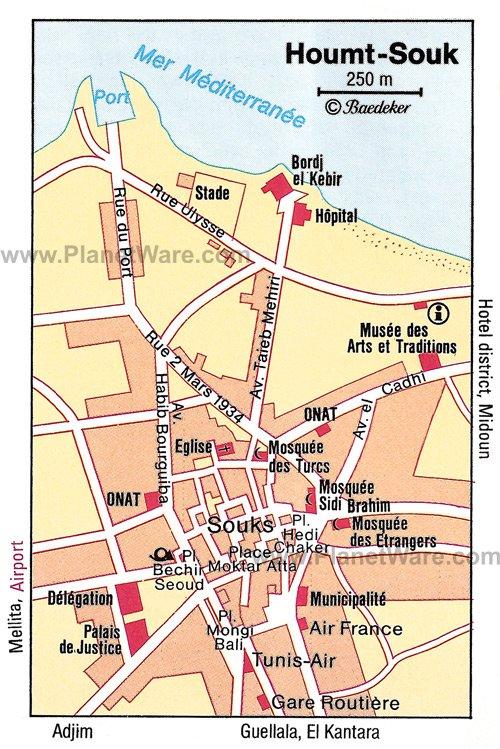 Mapa de Houmt-Souk - Atracciones turísticas