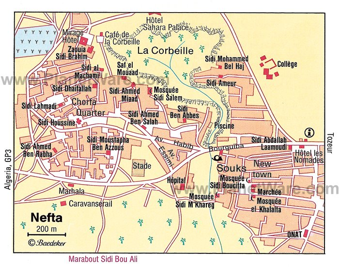 Nefta Map - Tourist Attractions