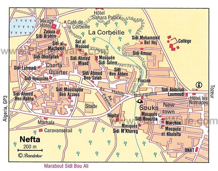 Mapa de Nefta - Atracciones turísticas