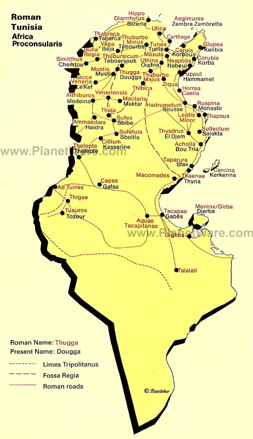Map of Roman Tunisia