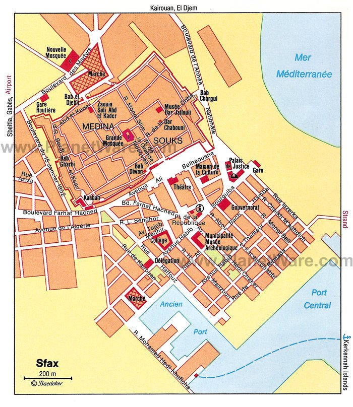 Sfax Map - Tourist Attractions