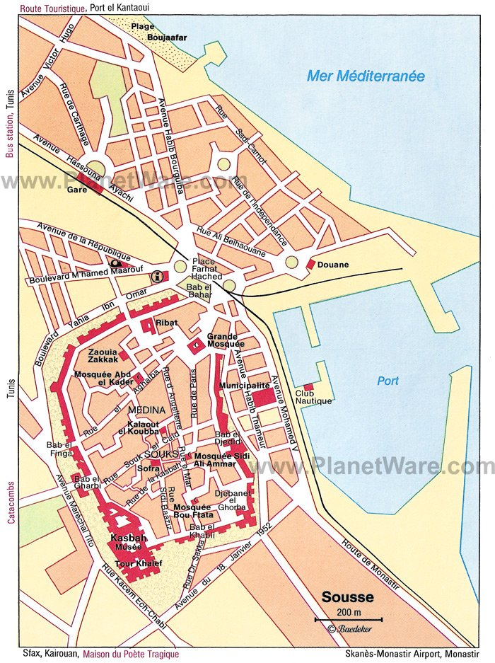 Sousse Map - Tourist Attractions