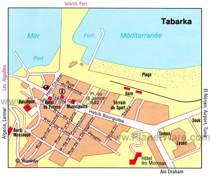 Tabarka Map - Tourist Attractions