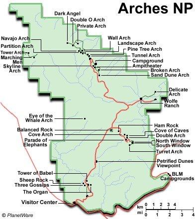 Parque Nacional Arches - Mapa de distribución