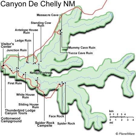 Arizona - Monumento Nacional Cañón de Chelly - Mapa