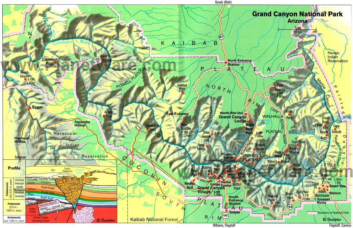 Grand Canyon National Park Us Az Gcnp Pelfind – Tourist Map Of Arizona