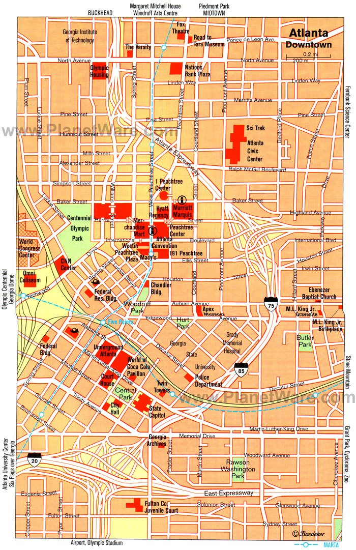 Atlanta Map - Tourist Attractions