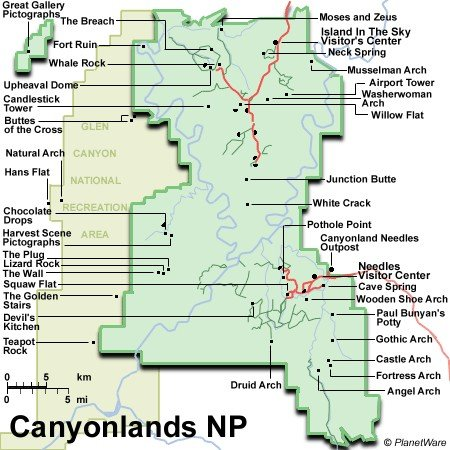 Canyonlands NP & Glen Canyon - Map
