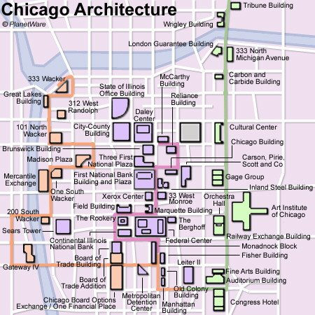 Chicago (Important Architecture) Map - Tourist Attractions