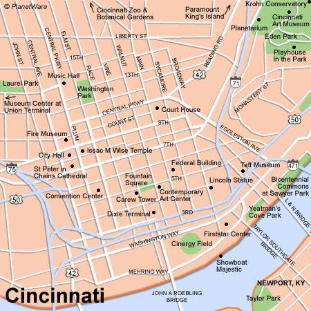 TopRated Tourist Attractions In Cincinnati PlanetWare - Cincinnati in us map
