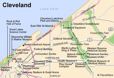 TopRated Tourist Attractions In Cleveland PlanetWare - Cleveland ohio usa map