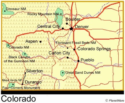 Colorado Travel Guide PlanetWare - Map of colo