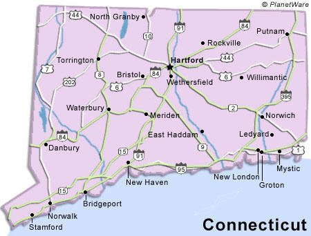 Connecticut Facts Map And State Symbols EnchantedLearningcom Free - Map usa connecticut