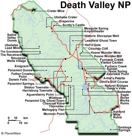 Death Valley Trail Map Death Valley National Park Map