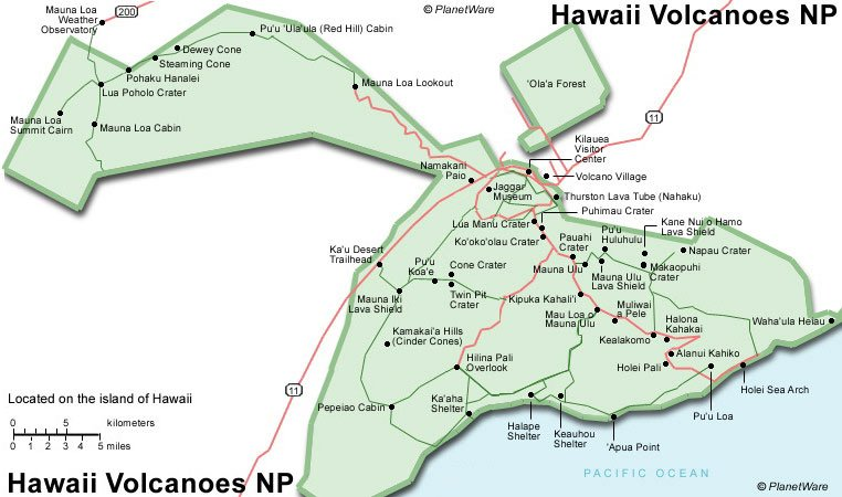 Some attractions within Hawaii Volcanoes NP Map: