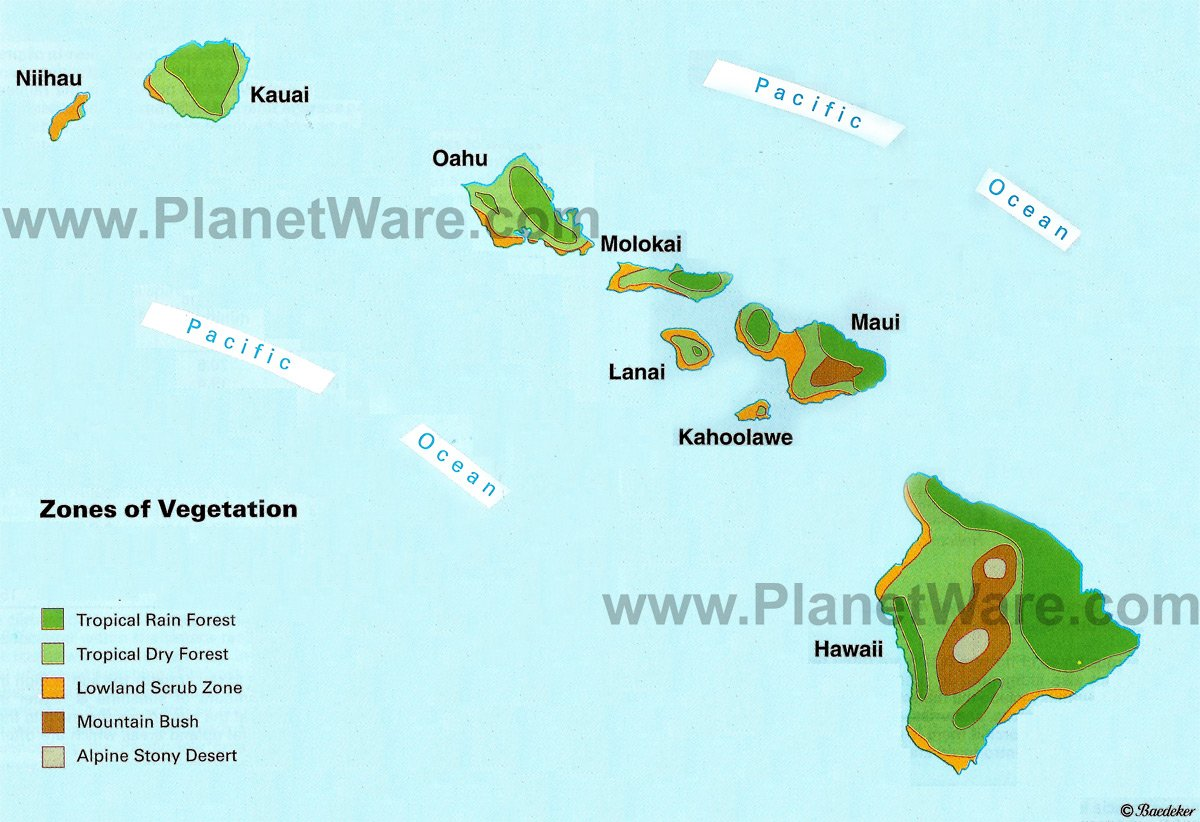 Usa Hawaii Zones Of Vegetation Map Us Hi