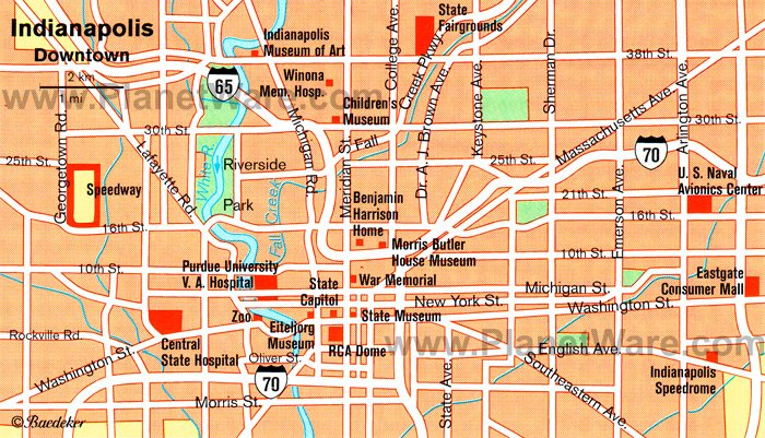 Indianapolis Map - Tourist Attractions
