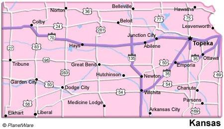 Kansas Travel Guide PlanetWare - Kansas map