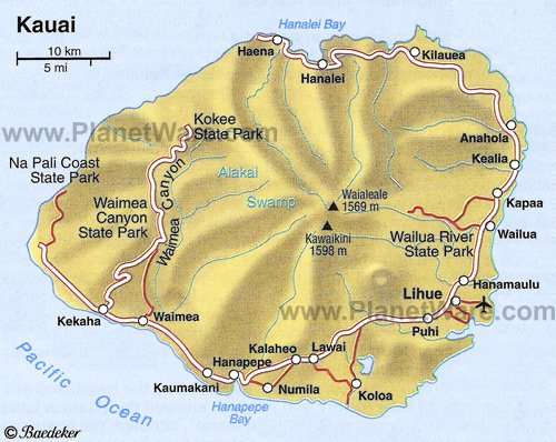 Kauai Map - Tourist Attractions